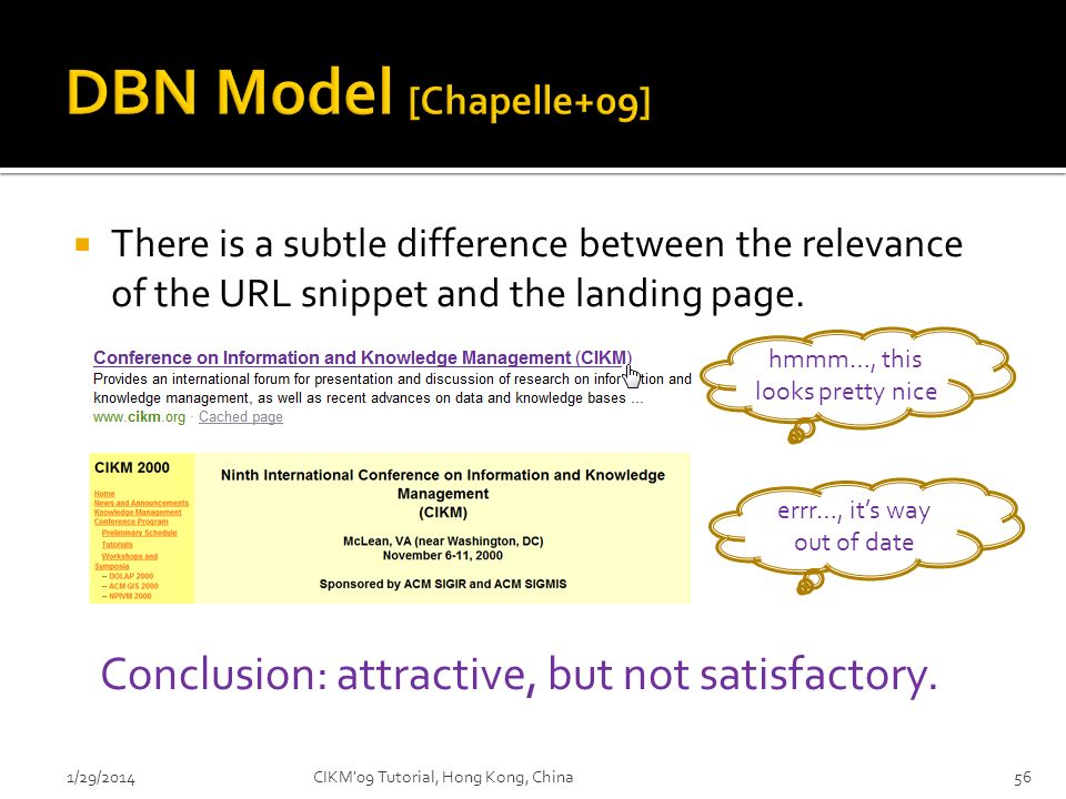 DBN Model [Chapelle+09] Conclusion: attractive, but not satisfactory.